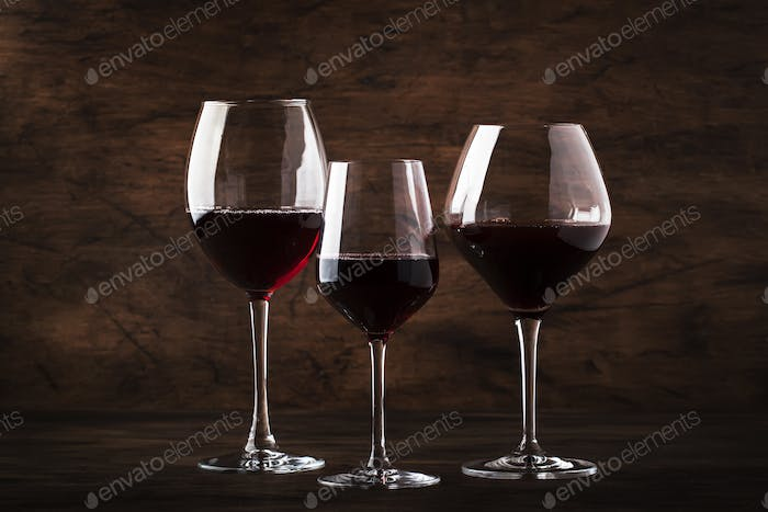 Selection of red wine on wine tasting