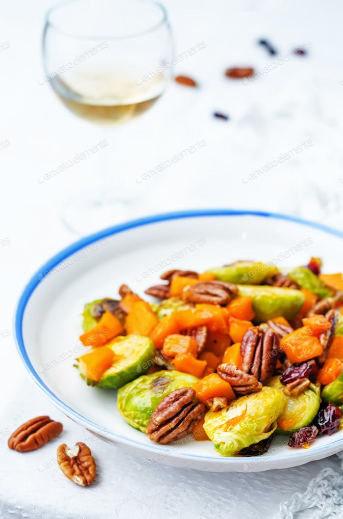 Thumbnail for roasted brussels sprouts honey pumpkin pecan salad