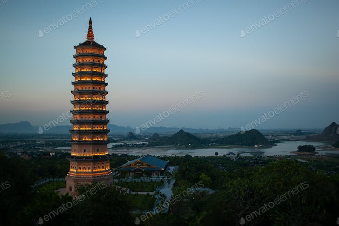 Evening view of Bai Dinh Pagoda in Ninh Binh, Vietnam
