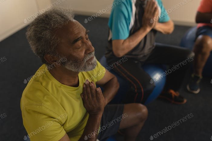 High angle view of active senior men performing yoga doing exercice ball at home