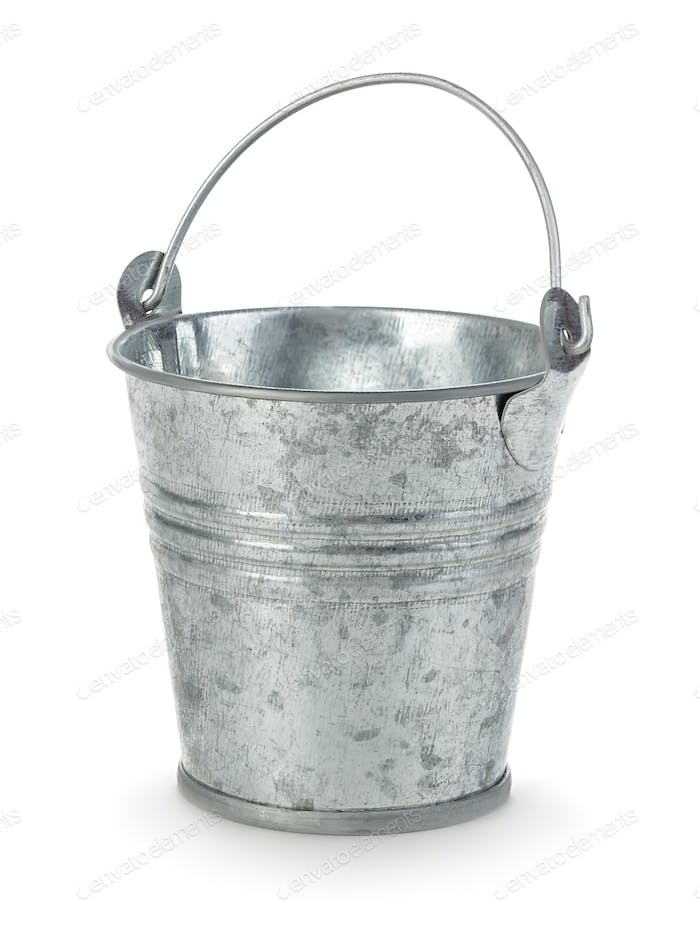 Iron bucket close-up isolated on a white background.
