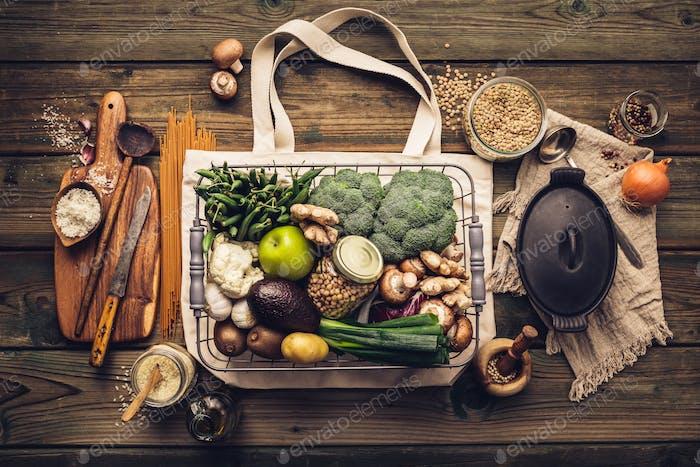 Zero waste Plastic free Vegan Vegetarian cooking flat lay