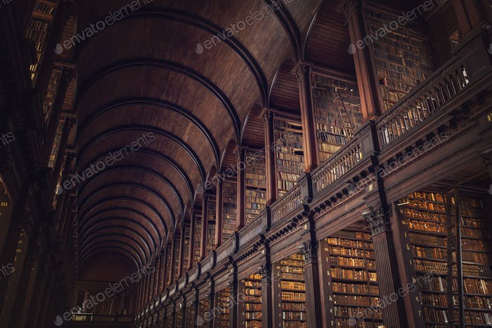 DUBLIN, IRELAND -  JULY 14, 2018: The Long Room in the Trinity C