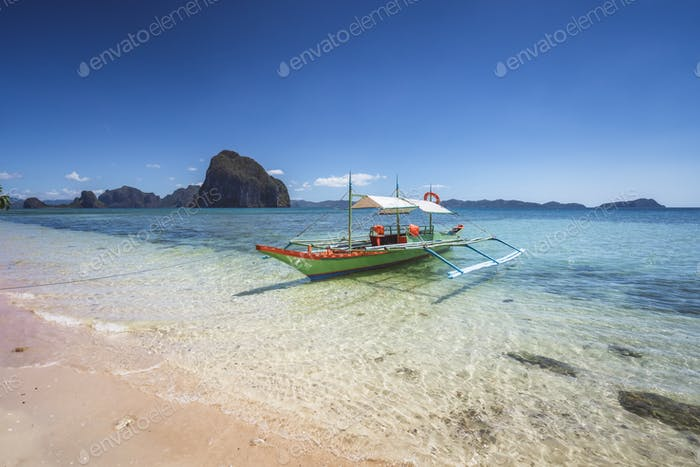 Traditional banca boats on beautiful Corong beach, El Nido . Palawan, Philippines. Summer exotic