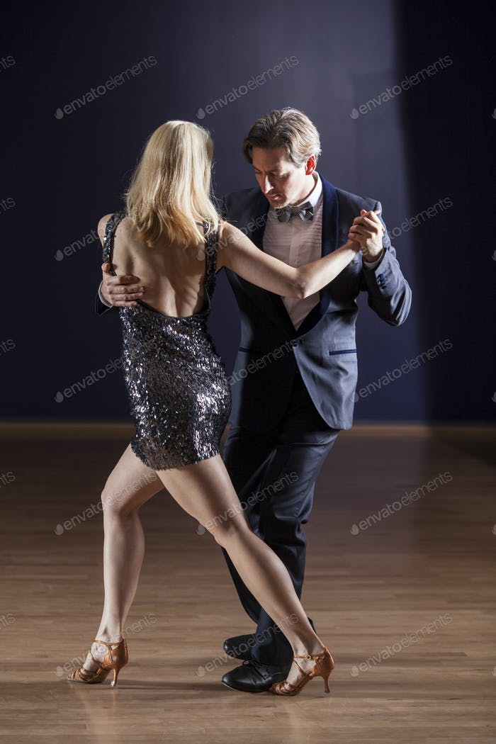young couple tango dancing