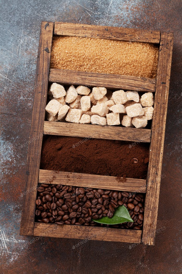 Roasted and powder coffee, brown sugar