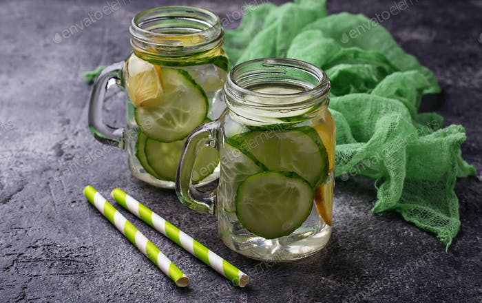 Refreshing detox water with cucumber and lemon