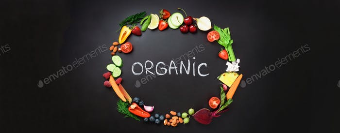 Healthy food background. Circle of fresh vegetables, fruits, nuts, berries with handwritten phrase