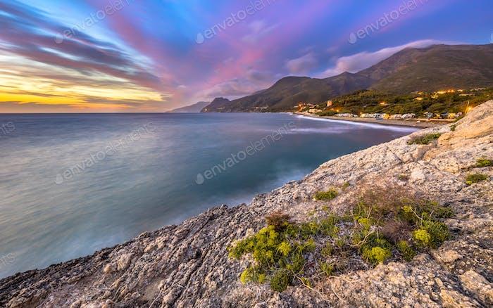 Sunset over Mediterranean sea