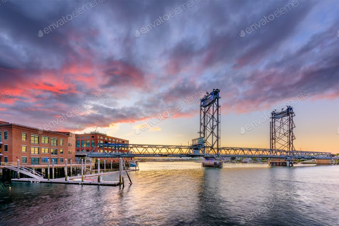 Portsmouth, New Hampshire, USA at Memorial Bridge on the Piscata