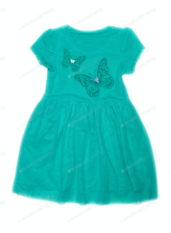 Children's fancy dress with butterfly pattern.