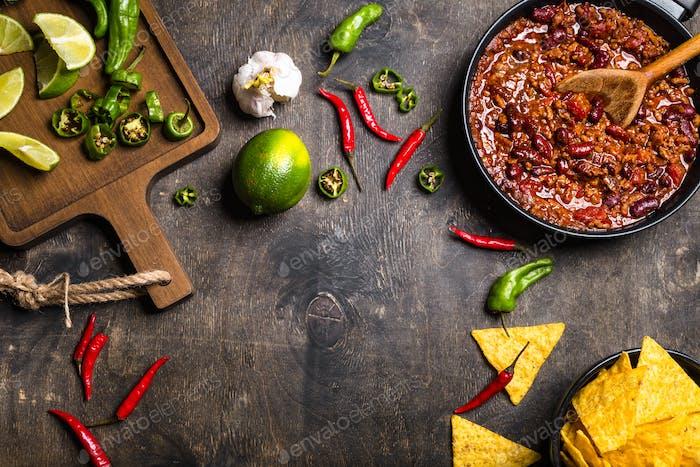 Chili con carne background