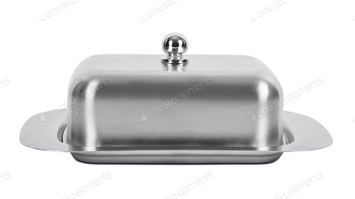 Metal butter container on white background