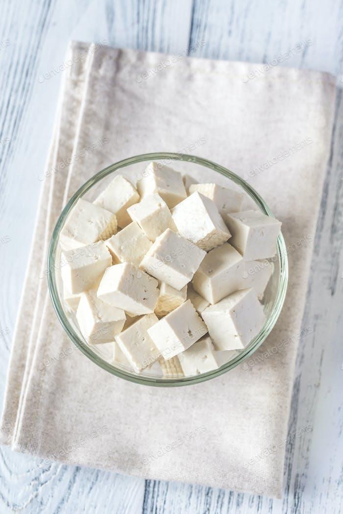 Cut tofu in the glass bowl