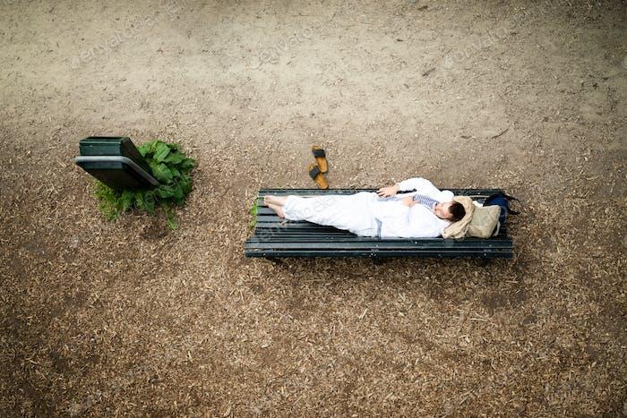 Homless man resting