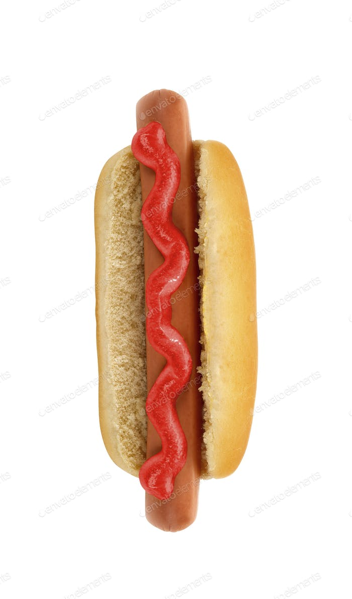 Close-up image of a hotdog isolated on white background