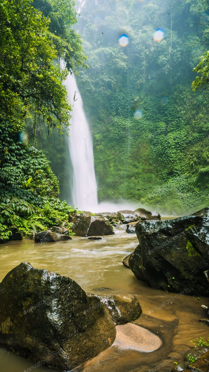 Amazing Nungnung waterfall, Rocks and some Waterdrops, Bali, Indonesia