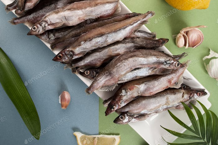 Raw fresh-frozen capelin on a light blue-green background.