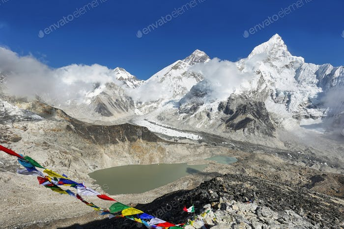 Changtse, Everest and Nuptse from Kalapattar, 5545m