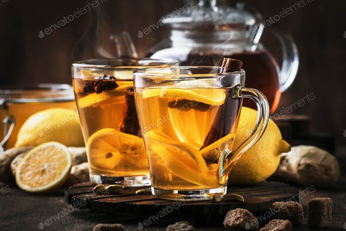 hot healing tea with ginger