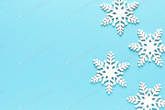 Christmas, Xmas, New Year or Noel holiday festive winter greeting card with decorations, snowflakes