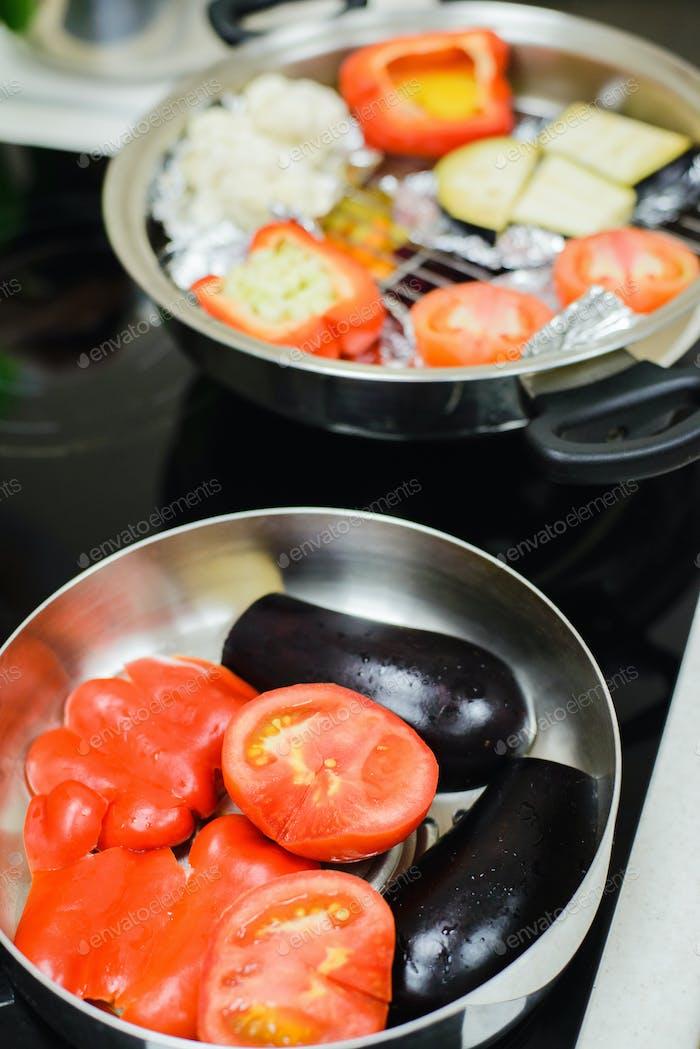 cooking a vegetarian dinner