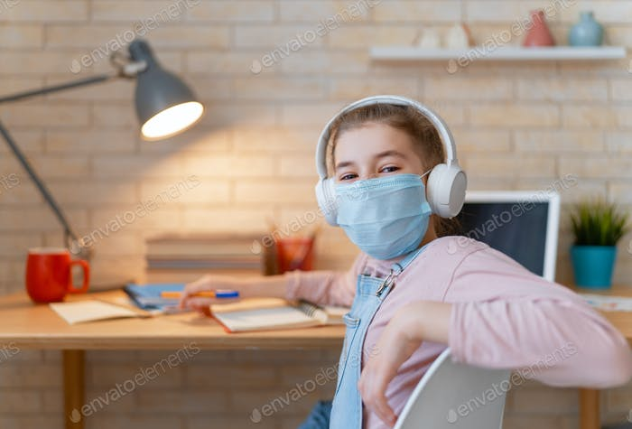 Girl is wearing facemask.
