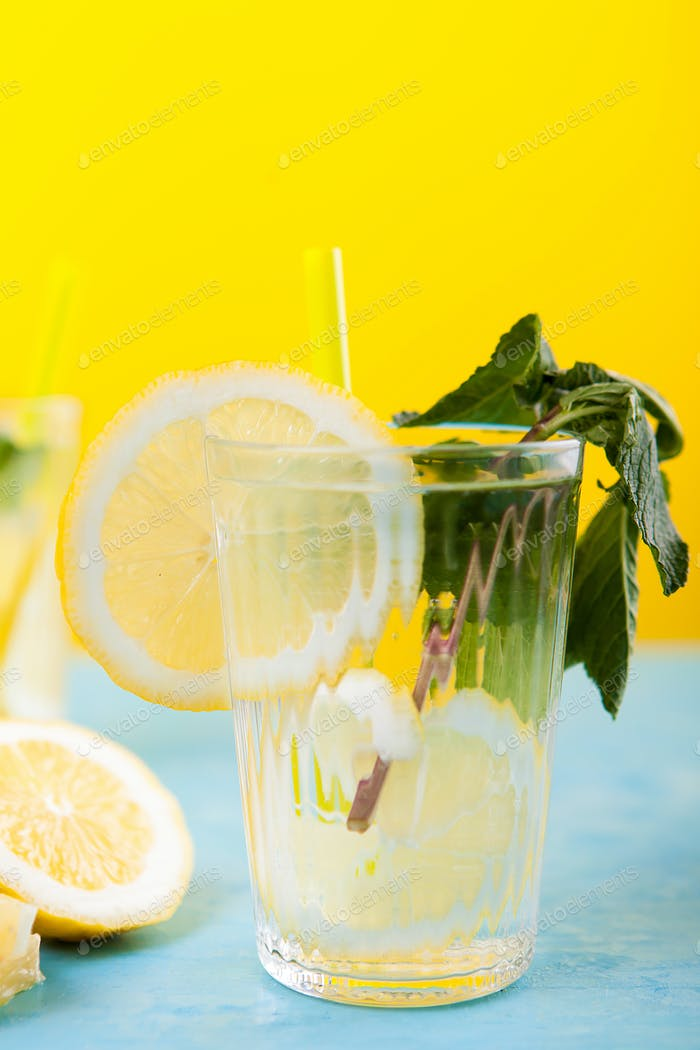 Cold lemon water drink for hot summer days