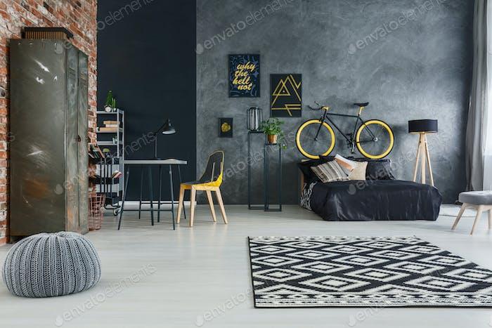 Studio flat with modern furniture
