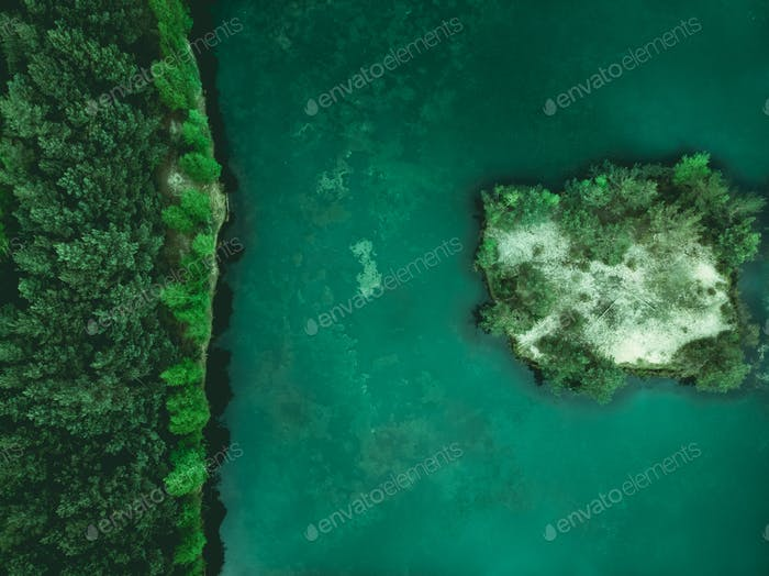 Wildernes,forest and small island on lake,aerial