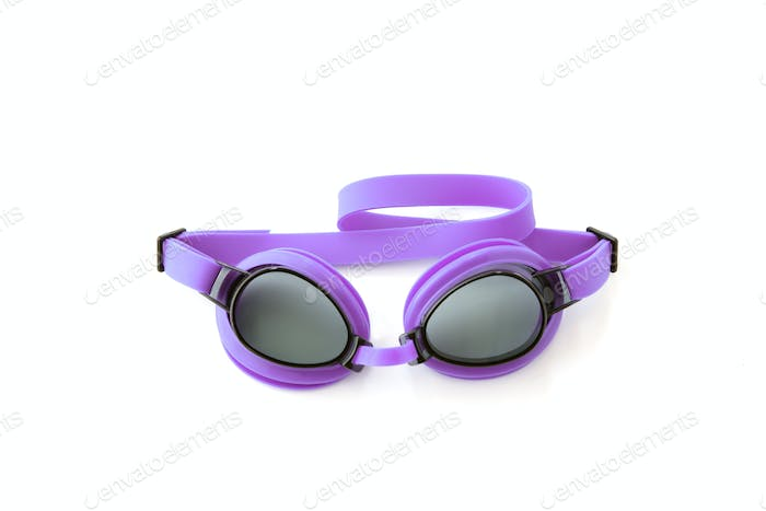 Purple swimming goggles
