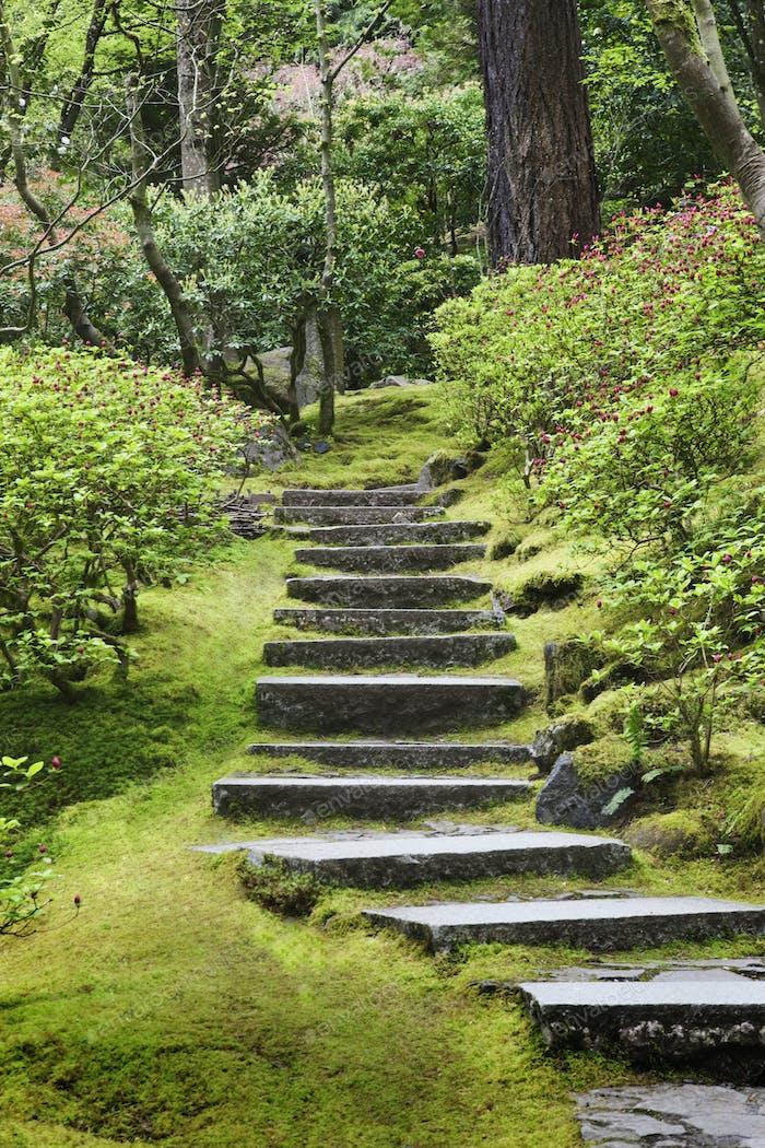 54104,Stone steps in Japanese Garden, Portland, Oregon, United States