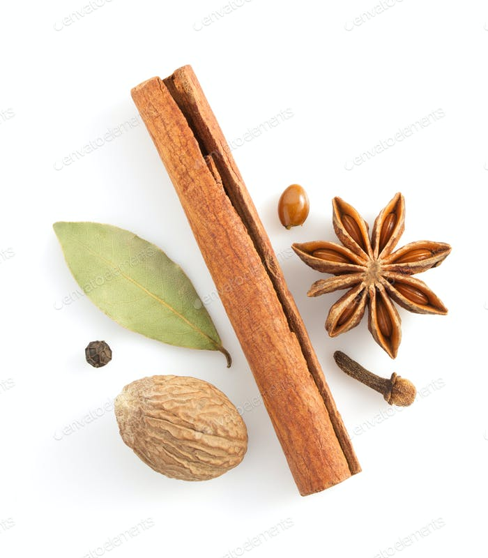 Thumbnail for cinnamon sticks, anise star and spices on white