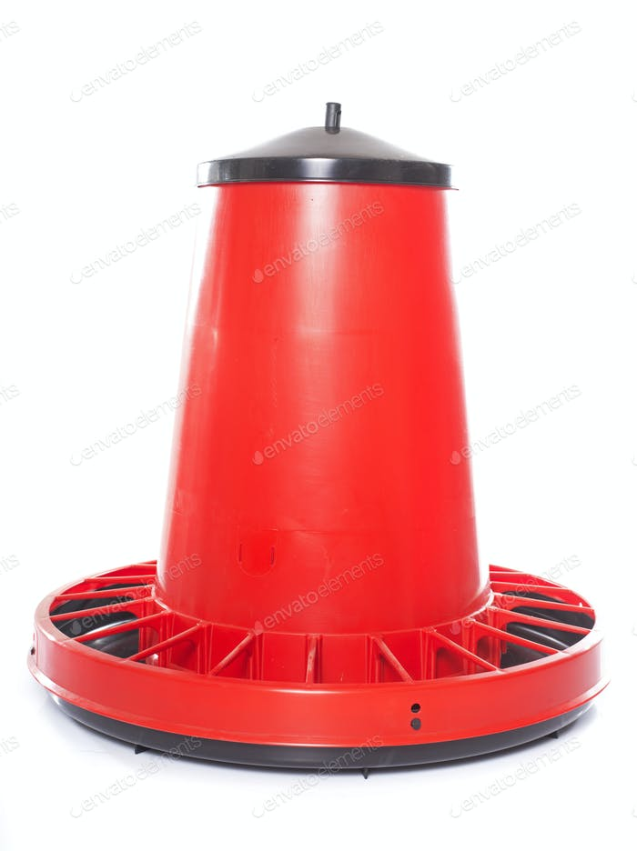 red chicken feeder