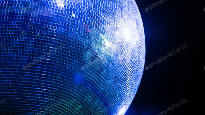 Glowing blue disco ball