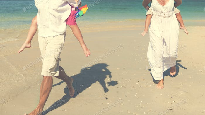 Beach Family Vacation Parent Children Relaxation Concept