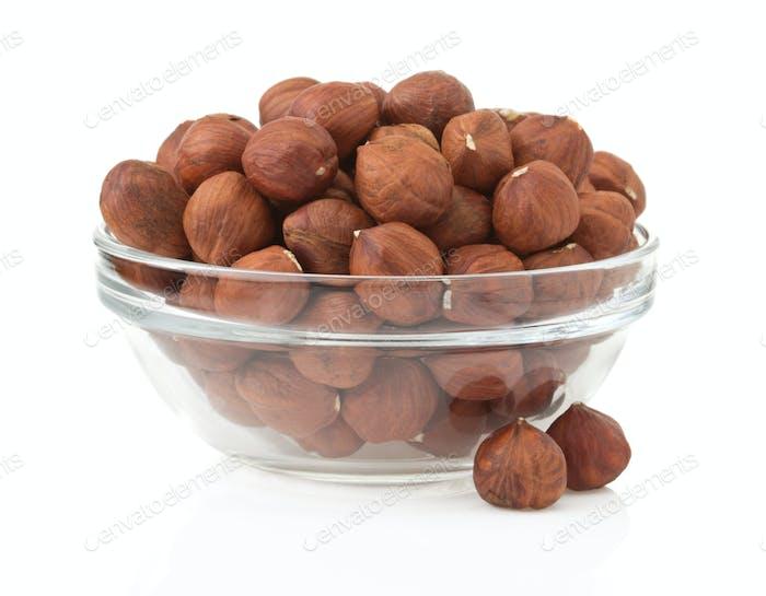 nuts hazelnut on white background