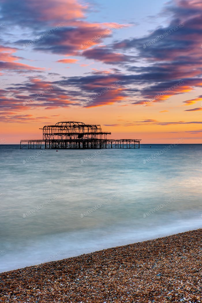 The ruin of the Brighton West Pier