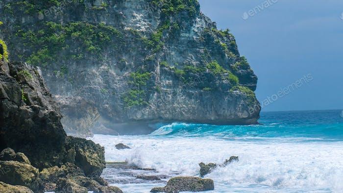 Ocean Waves on Tembeling Coastline at Nusa Penida island, Bali Indonesia