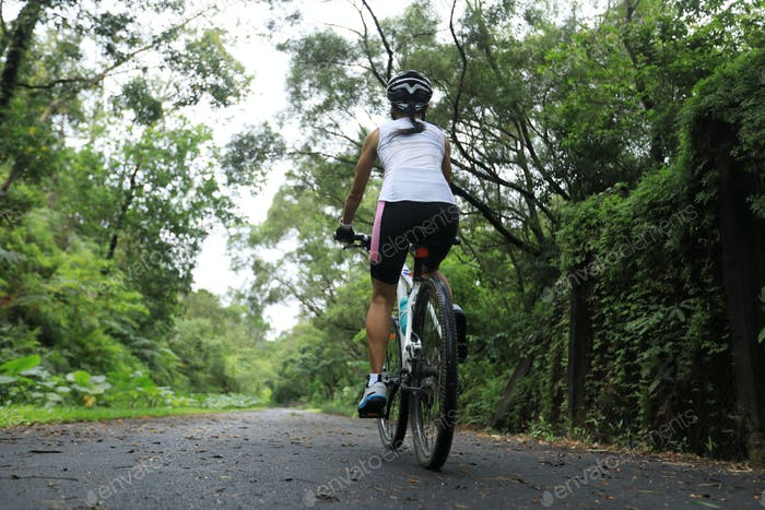 Cycling on morning rainforest trail