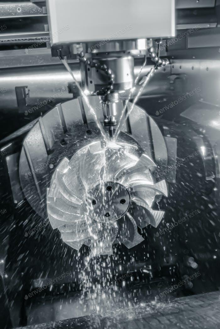 Metalworking CNC lathe milling machine. Cutting metal modern processing technology.