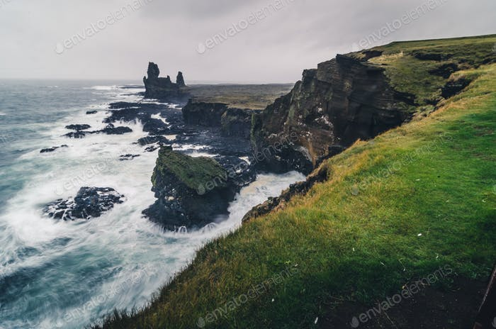 stormy sea at Londrangar, Iceland