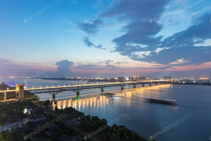 jiujiang combined bridge in nightfall