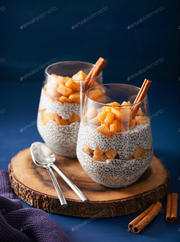 chia pudding with cinnamon simmered apples and peanut butter