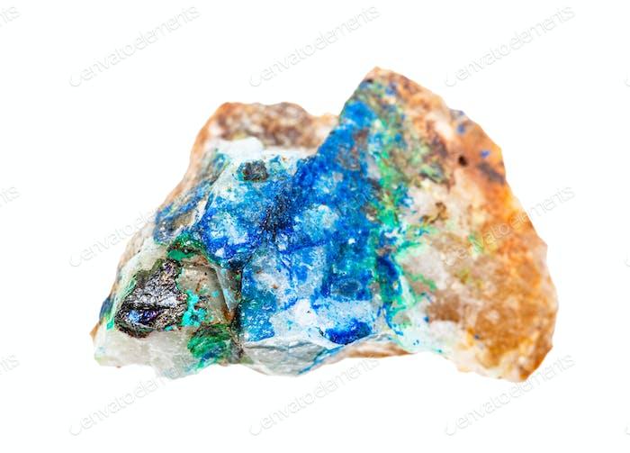 Tennantit, Azurit und Tirolite auf Quarzstein