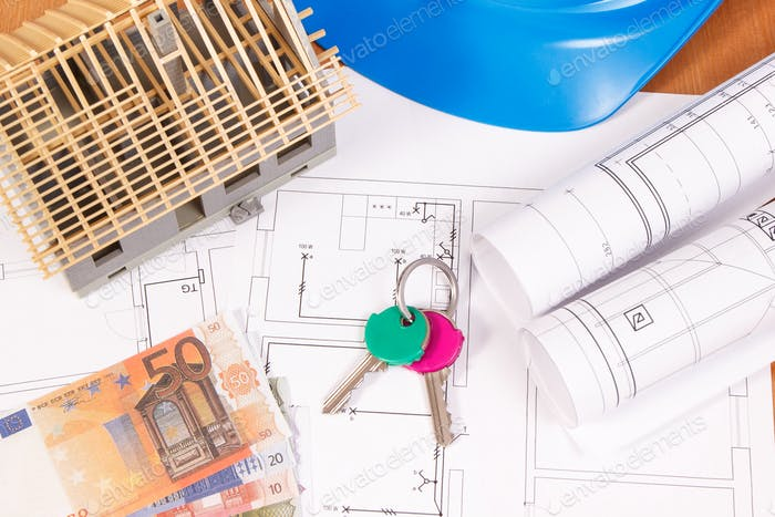 Currencies euro, home keys, electrical diagrams for engineer jobs and house under construction