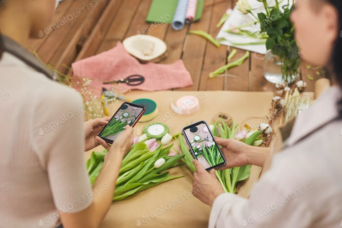 Women Arranging Flower Compositions for Spring