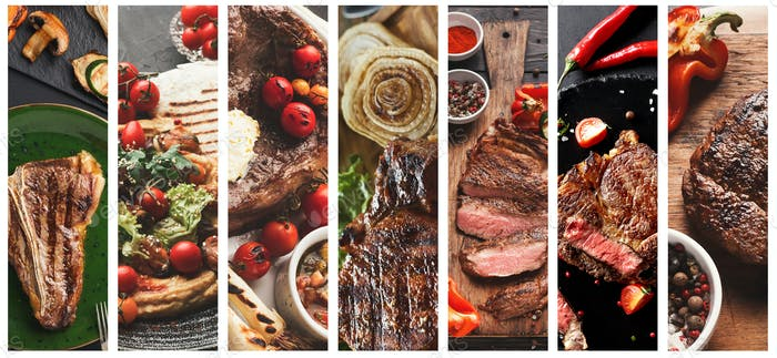 Collage of grilled meat meals on dark background