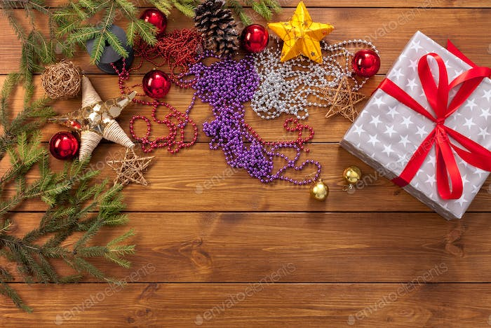 Christmas ornaments, decorations and present, winter holidays background