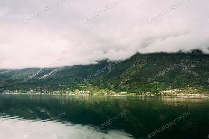 Hardangerfjord, Norway. Summer Landscape With Scandinavian Villa